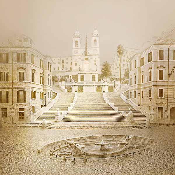© Irene Kung. Piazza di Spagna. Inchiostro su carta cotone 70x70cm