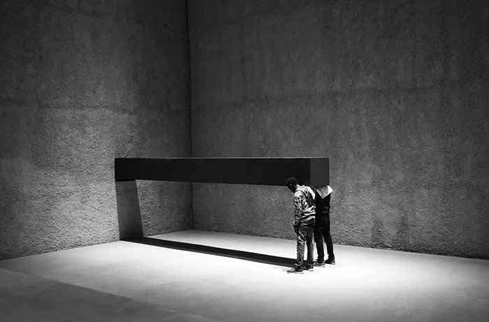 Santiago Sierra. Object Measuring 600 X 57 X 52 cm constructed to be held horizontally to the wall. Konig Galerie. Berlin, Germany. November 2016